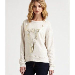 Haute Hippie Gold Longhorn Skull Sweatshirt XS/S